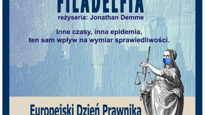 """Zaproszenie naobchody Europejskiego Dnia Prawnika 2020 online ipokaz filmowy """"Filadelfia"""" (reż. J. Demme, 1993 r.)"""
