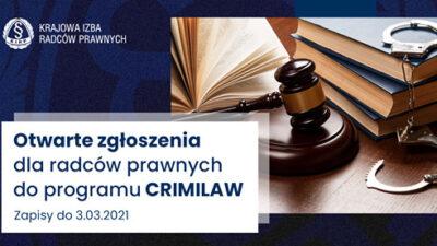 Zaproszenie doudziału wIsesji online programu CRIMILAW nt.europejskiego prawa ipostępowania karnego – zgłoszenia do03.03.2021 r. godz.24.00