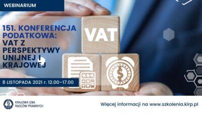 VAT zperspektywy unijnej ikrajowej – webinarium online już wlistopadzie