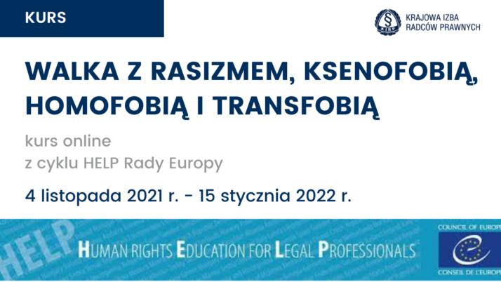 """""""Walka zrasizmem, ksenofobią, homofobią itransfobią"""" – kurs online programu HELP Rady Europy"""