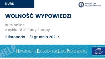"""""""Wolność wypowiedzi"""" – kurs online zcyklu HELP Rady Europy"""